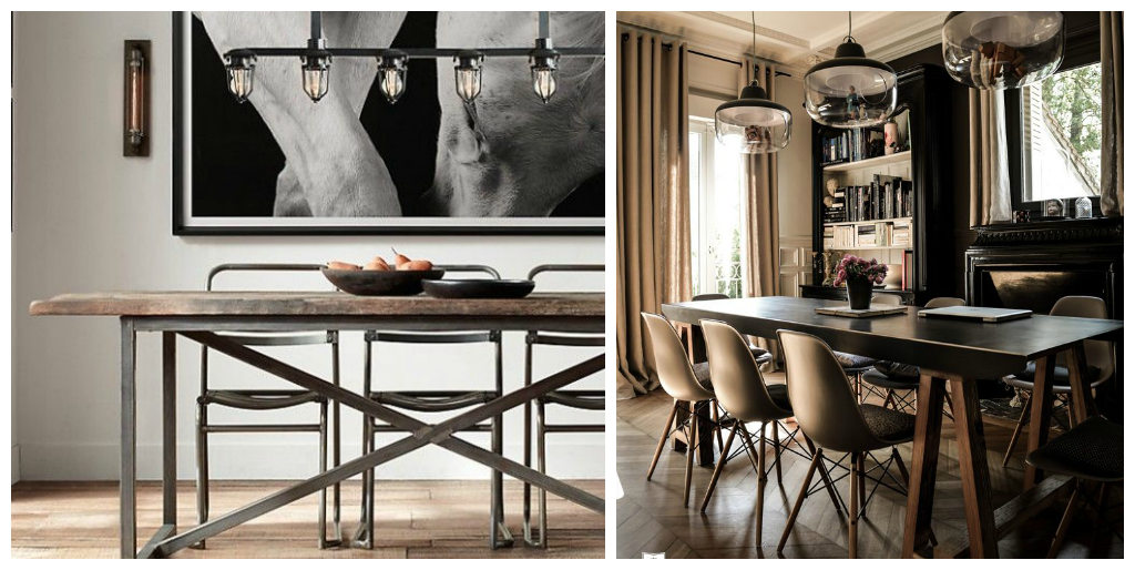 Modern rustic in the dining room drummond house plans blog for Table a diner industrielle