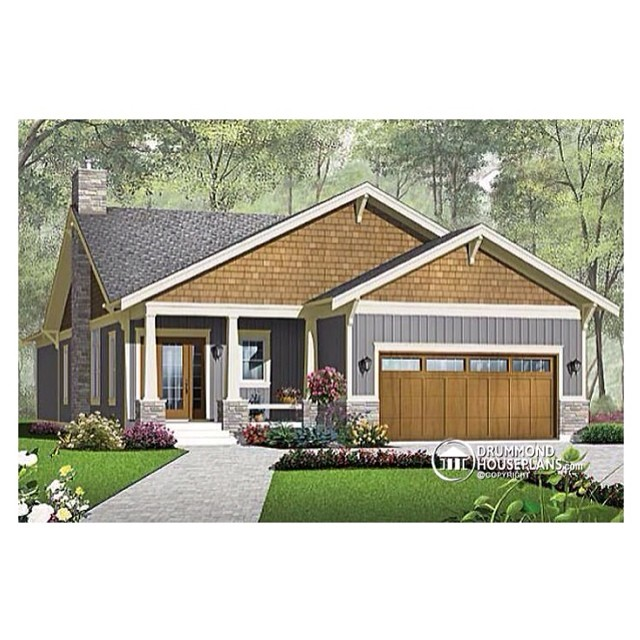 Rustic bungalow with amazing layout ! Plan no. 3240 #DrummondHousePlans #HousePlan #HomePlan