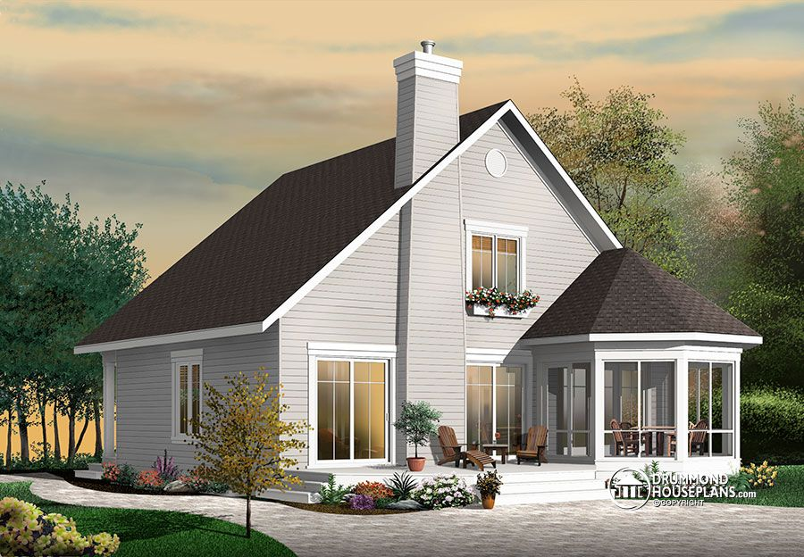 Stunning a frame 4 bedroom cottage house plan drummond for Two bedroom bungalow plans