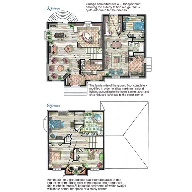 Customized floor plans of a multigenerational house plan #DrummondHousePlans #HousePlan #FloorPlans
