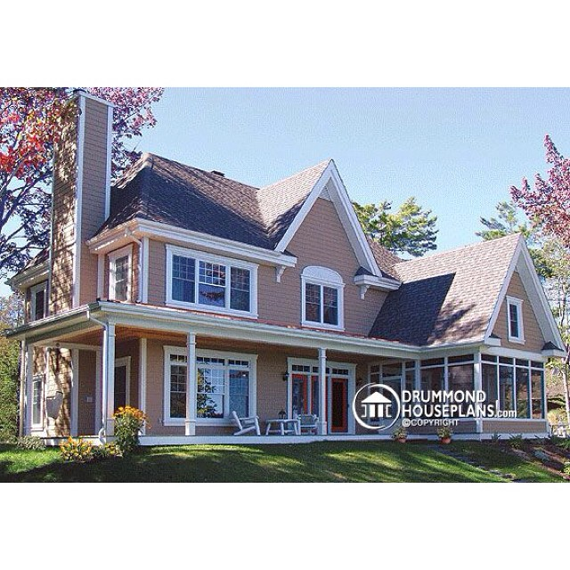 4 bedroom cottage by the lake (No. 3829) #DrummondHousePlans #HousePlan #HomePlan