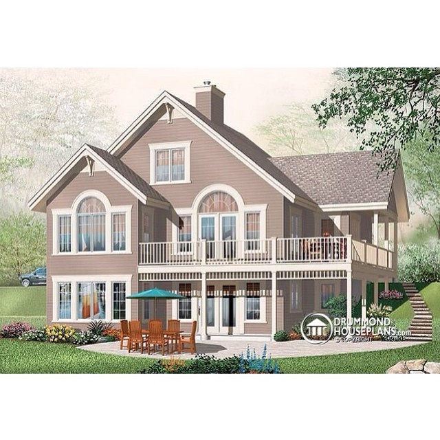 5 bedroom chalet with basement appartment, fireplace & mezzanine ! (Plan no. 3956B) #DrummondHousePlans #HousePlan #HomePlan