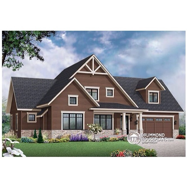 Plan no. 3507-V3 // Modern rustic cottage offering large unfinished bonus space, pantry, laundry on main & 3 to 4 bedrooms ! #DrummondHousePlans #HousePlan #HomePlan