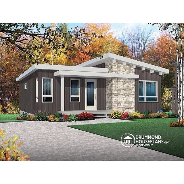 New modern & affordable bungalow with 4 bedrooms, 2 living rooms & walk-in pantry ! (No. 3149) #DrummondHousePlans #HousePlan #HomePlan