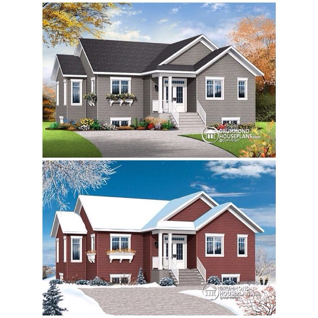 5 bedrooms, home office, large kitchen w/ island, open floor plan & master on main. Now which color is your favorite ? Grey or red ... Comment below ?? (Plan no. 3133-V4) #DrummondHousePlans #HomePlan #HousePlan