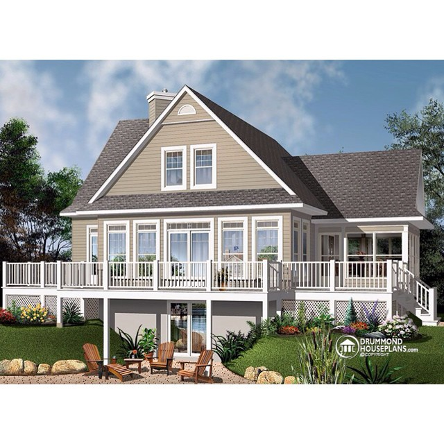 A-Frame panoramic house plan offering 3+ bedrooms, sun room & mezzanine ! (No. 3914-V1) #DrummondHousePlans #HousePlan #HomePlan