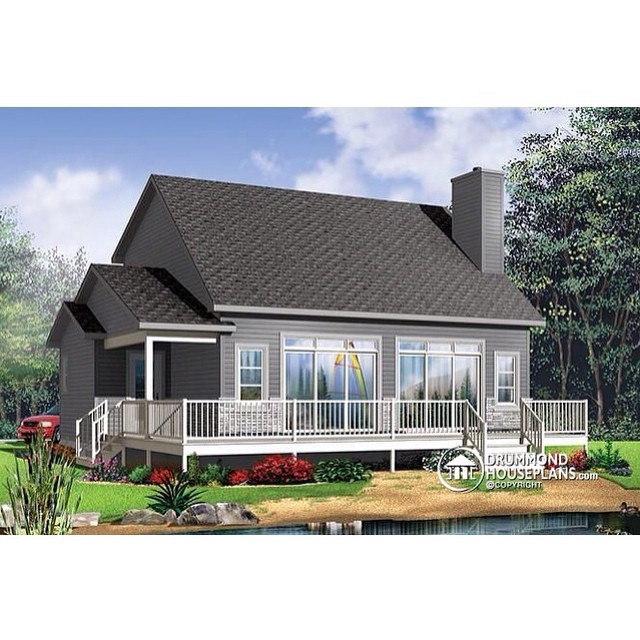 PLAN 3965 // 3 BEDROOM, 2 STOREY CHALET WITH MEZZANINE #DrummondHousePlans #HousePlan #HomePlan