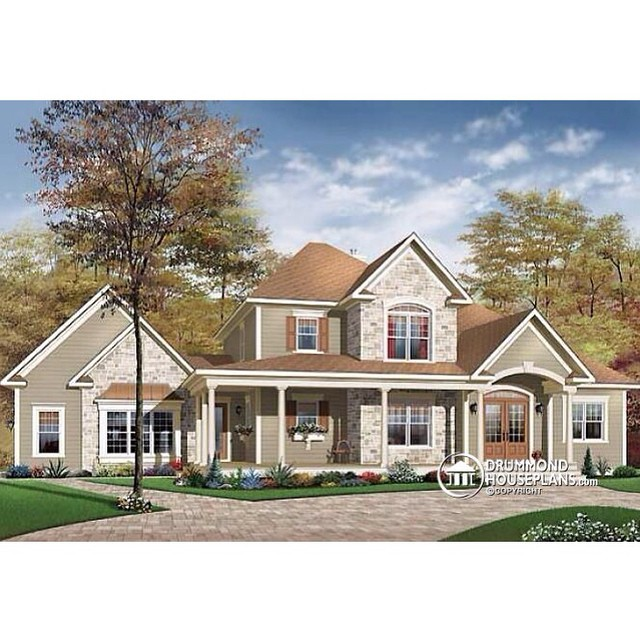 Country house plan with 3 to 4 bedrooms, home office, open floor plan, 3-car garage & large covered front porch. (No. 2671) #DrummondHousePlans #HousePlan #HomePlan