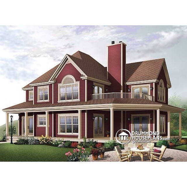 Traditional country home, master suite with terrace & fireplace, covered balcony, 3 to 4 bedrooms, panoramic view, 9' ceiling. (No. 2837A) #DrummondHousePlans #HousePlan #HomePlan