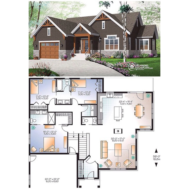 NEW RUSTIC ALTERNATIVE OF OUR BEST HOME PLAN SELLER ! American bungalow with large master suite, perfect for large or blended families, double garage & home office posibility. (No. 3260-V3) #DrummondHousePlans #HousePlan #HomePlan