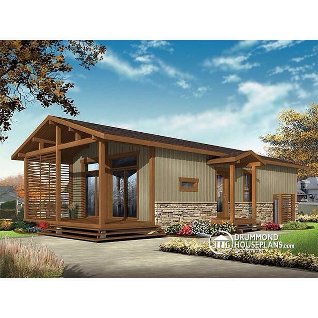 NEW TINE HOME DESIGNS  Modern rustic tiny home plan, very versatile, 3+ bedrooms, covered deck, clever storage, approx. 100,000$ ! (No. 1701) #DrummondHousePlans #HousePlan #HomePlan #TinyHome