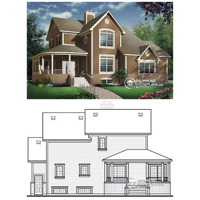 4 bedroom country home, 9' ceiling on main, 2 covered porches, fireplace in the family room. (No. 2884A) See other alternatives, similar plans & floor plans on our website >> link in bio. #DrummondHousePlans #HousePlan #HomePlan