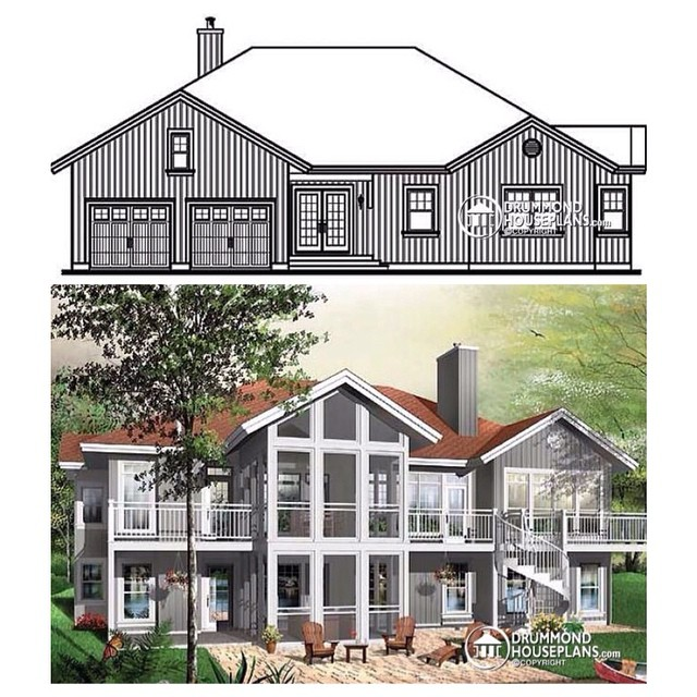 5 bedroom modern rustic cottage with open floor plan, screen porch, basement for grand-parents & 2-car garage ! (No. 3924) #DrummondHousePlans #HousePlan #HomePlan