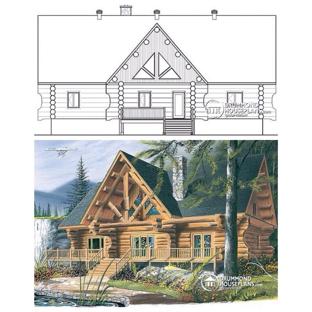 4 bedroom modern rustic log house with abuandant fenestration & open floor layout. (No. 2913) #DrummondHousePlans #HousePlan #HomePlan