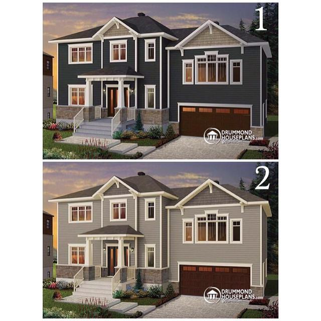 *NEED YOUR HELP* Witch one is your favorite : 1 or 2 ? Thank you !! (Plan no. 3881) #DrummondHousePlans #HousePlan #HomePlan