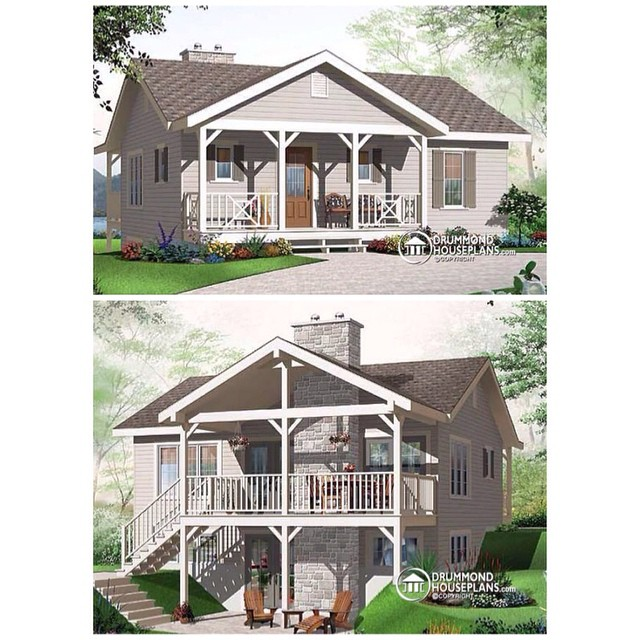 3+ BEDROOM, SMALL & AFFORDABLE CHALET DESIGN. (No. 3955) #DRUMMONDHOUSEPLANS #HOUSEPLAN #HOMEPLAN