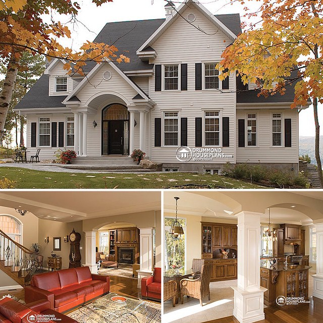 Costum country home design by #DrummondHousePlans #HousePlan #HomePlan