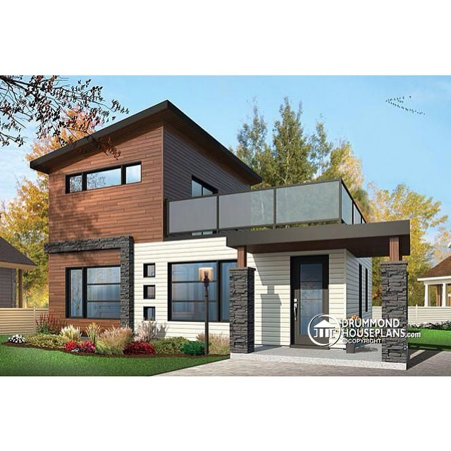 LATEST MODERN HOME DESIGN TREND // 2-storey 2 bedroom small and tiny Modern house with deck on 2nd floor, affordable building costs & open floor plan ! (No. 1703) #DrummondHousePlans #HousePlan #HomePlan