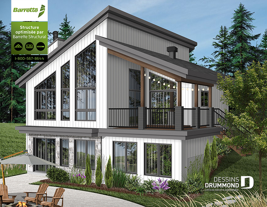 Plan De Chalet Moderne Avec Grand Balcon Foyer Dessins Drummond
