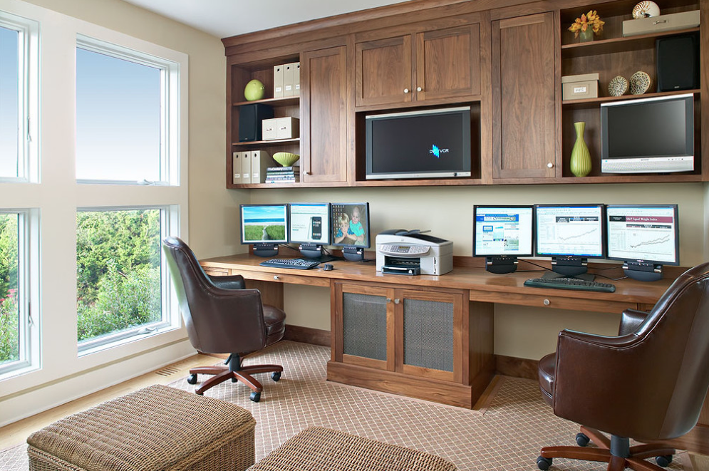 Home office space design Pinterest Nice Place To Work Side By Side If Your Office Space Drummond House Plans Blog Ideas For Shared Home Office Space