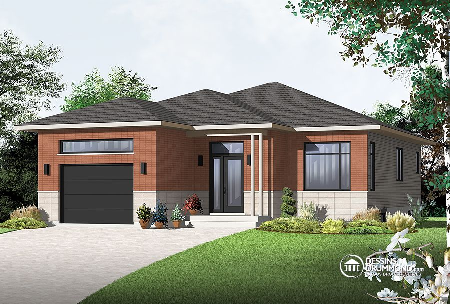 Plain pied contemporain avec garage blogue dessins drummond for Plan maison bungalow avec garage