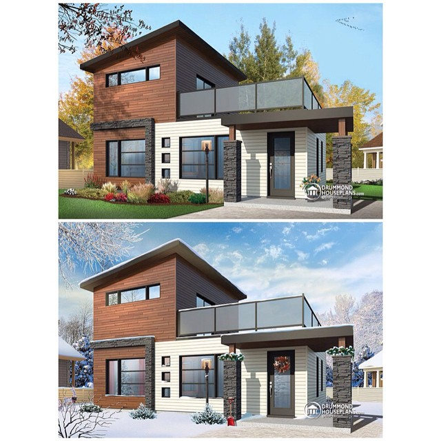 Summer & Winter version of a beautiful tiny modern rustic home plan with 2 bedrooms & large terrace on the seconde floor ! (No. 1703) #DrummondHousePlans #HomePlan #HousePlan
