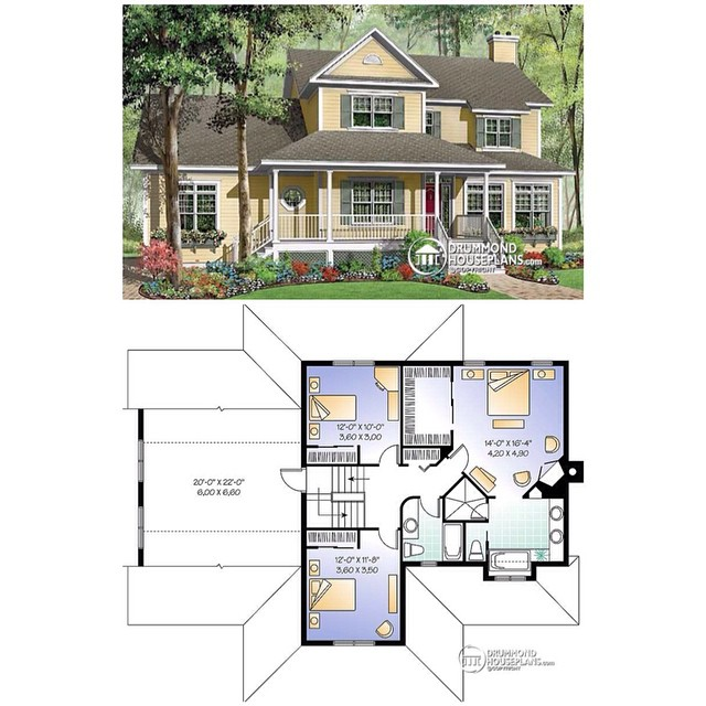 Second level floor plan of an American & country house plan with 3 to 4 bedrooms, remarkable master suite  2 home offices, 2-car garage & breakfast nook ! (No. 3864) #DrummondHousePlans #HomePlan #HousePlan