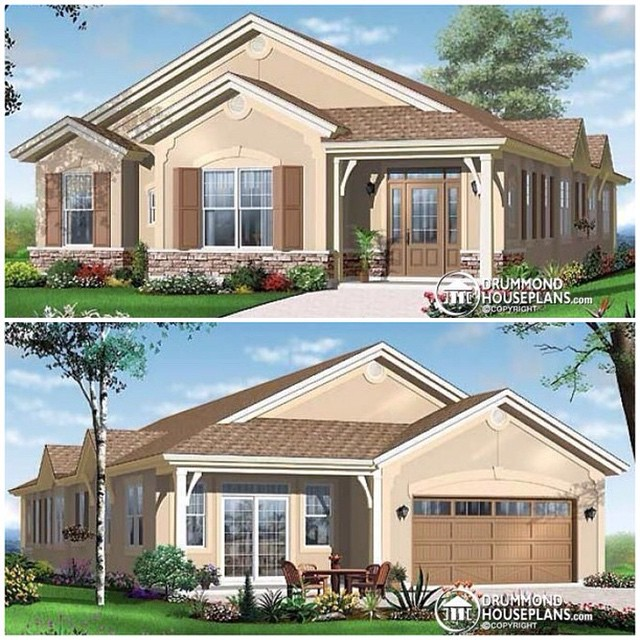 Beautiful ocean front & mediterranean bungalow with 2-car garage, 4 bedrooms, sun room & breakfast nook ! (No. 3250) #DrummondHousePlans #HomePlan #HousePlan