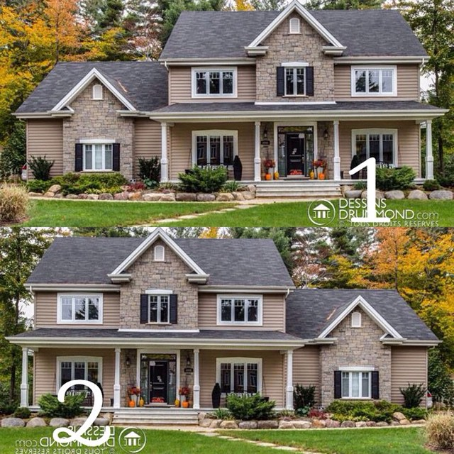 On which side do you prefer this custom house plan : 1 or 2 ? #DrummondHousePlan #HousePlan #HomePlan