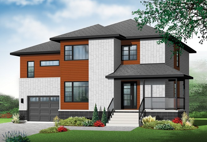 New contemporary house plan with 4 bedrooms and 3 bathrooms