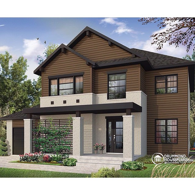 New modern rustic 2-storey home with master suite, 3 secondary bedrooms, 3 full bathrooms & open floor plan concept ! (No. 3720) #DrummondHousePlans #HousePlan #HomePlan