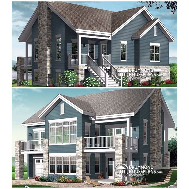 2 storey, 4 bedroom chalet with covered porch on 2 levels and garage ! (No. 3947) #DrummondHousePlans #HousePlan #HomePlan