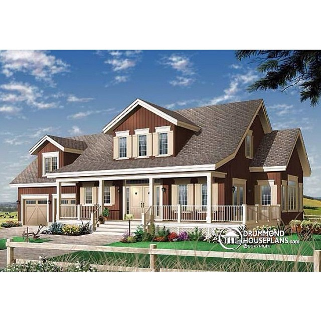 American modern farmhouse / Incredible master suite, dining & family room with abundant windows & triple garden doors, centralized fireplace, 9' ceiling throughout main level, bonus room above the garage & large closed foyer ! (# 2697) #DrummondHousePlans #HousePlan #HomePlan