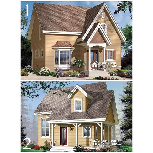 Which one is your favorite : 1 or 2 ? (No. 3513) #DrummondHousePlans #HomePlan #HousePlan