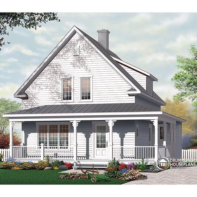 New modern farmhouse, discover its floor plans & more information on our website (No. 3512) #DrummondHousePlans #HousePlan #HomePlan