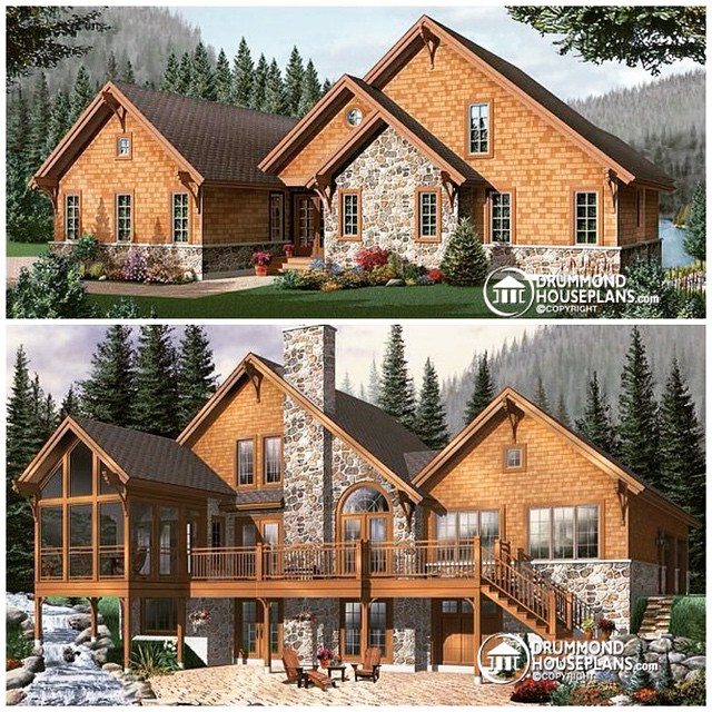 Remakable craftsman cottage of 5 bedrooms and amazing screen porch ! #DrummondHousePlans #HousePlan #HomePlan (no. 3925)