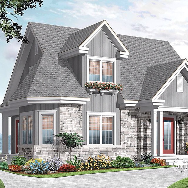 Master ensuite on main with french doors, open floor plan, 3+ bedroom, affordable construction price ! (No. 3516) #DrummondHousePlans #HousePlan #HomePlan