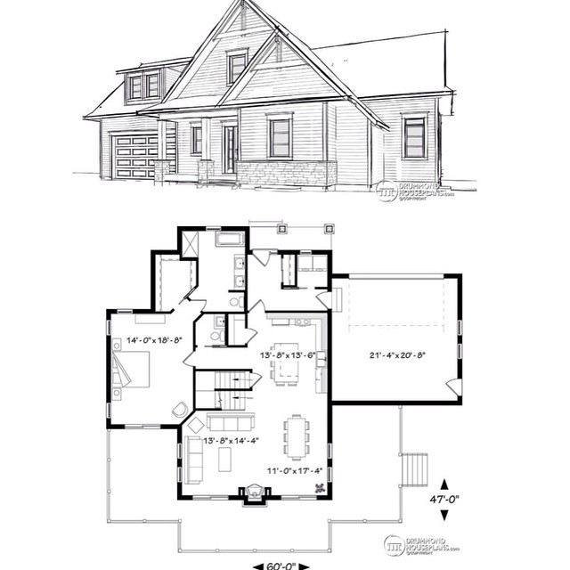 5 seat kitchen island, open floor plan, fireplace on family room, master on main, 3 to 5 bedrooms (No. 3914-V4) #DrummondHousePlans #HousePlan #HomePlan