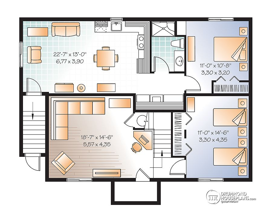 house plans with basement apartment - Family House Plans