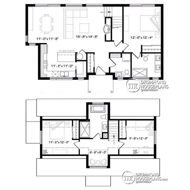 Floor plans of a new modern farmhouse with open space, 3 bedrooms, master ensuite on main, abundant fenestration, reading nook & large kitchen island - approx. 170,000$ budget ! (No. 3988) #DrummondHousePlans #HousePlan #HomePlan  Scroll up & find out the front & rear view !! ??
