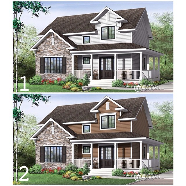 New farmhouse trend ! Which one is your favorite ?  Country Farmhouse house plan with warparound porch, large kitchen island, open floor plan layout ! #DrummondHousePlans #HousePlan #HomePlan (No. 3721)