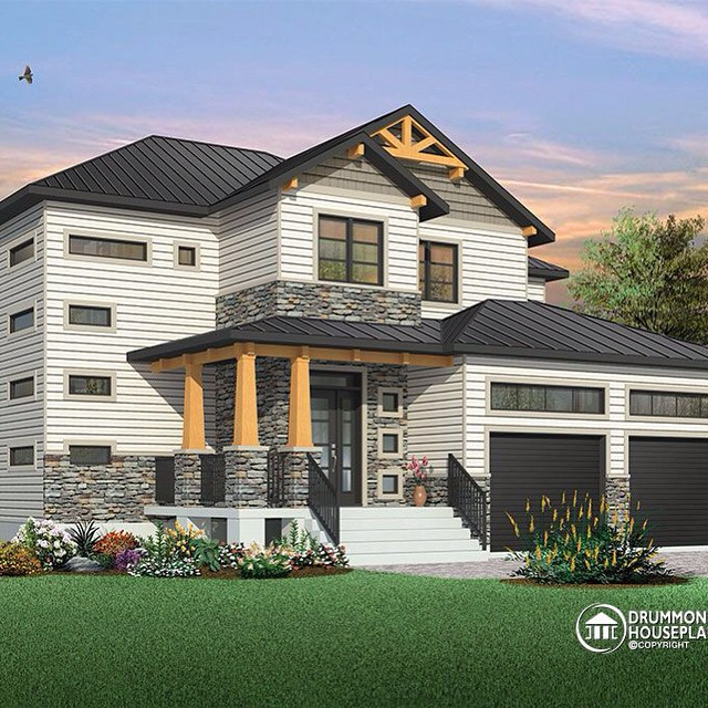 4 bedroom modern home design with rustic feel (No. 3718) #DrummondHousePlans #HousePlan #HomePlan