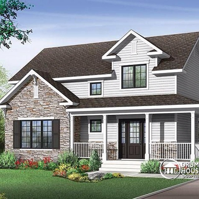 PLAN W3721 -  Country Farmhouse house plan with wraparound porch, large kitchen island, open floor plan layout #DrummondHousePlans #HousePlan #HomePlan