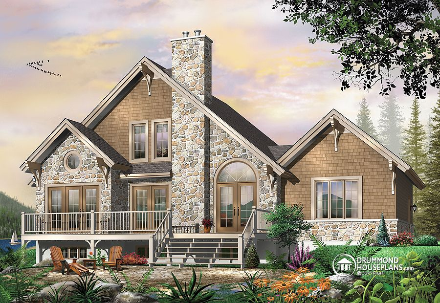 The touchstone house plan 2957 affordable modern Rear view home plans