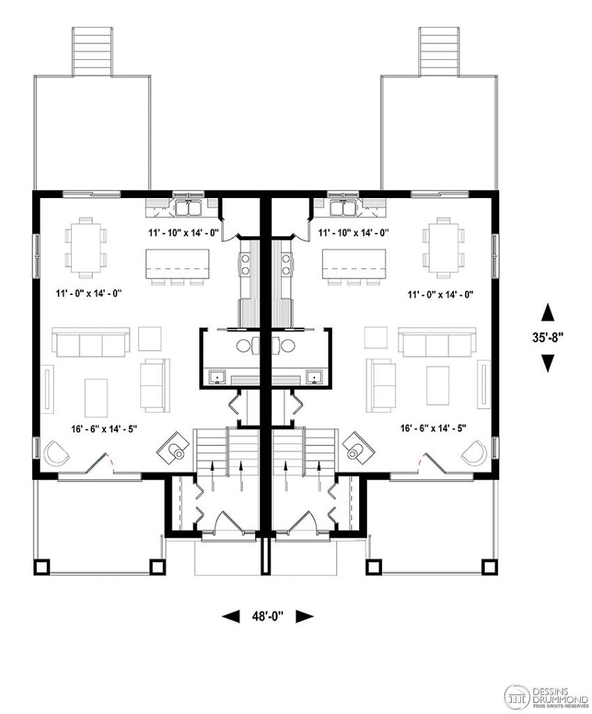plan de maison jumelée contemporaine