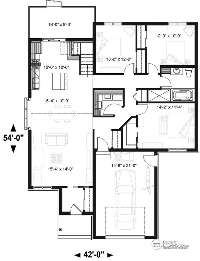 Blogue dessins drummond id es et inspirations pour votre for Plan bungalow 1 chambre